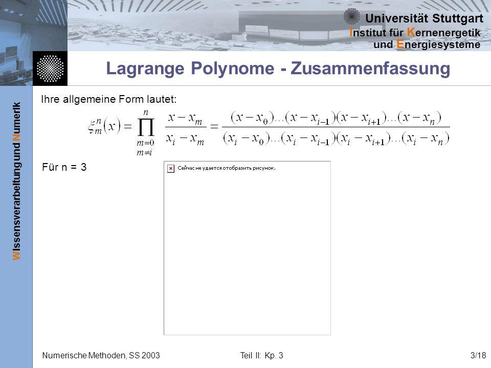 Lagrange Polynome - Zusammenfassung