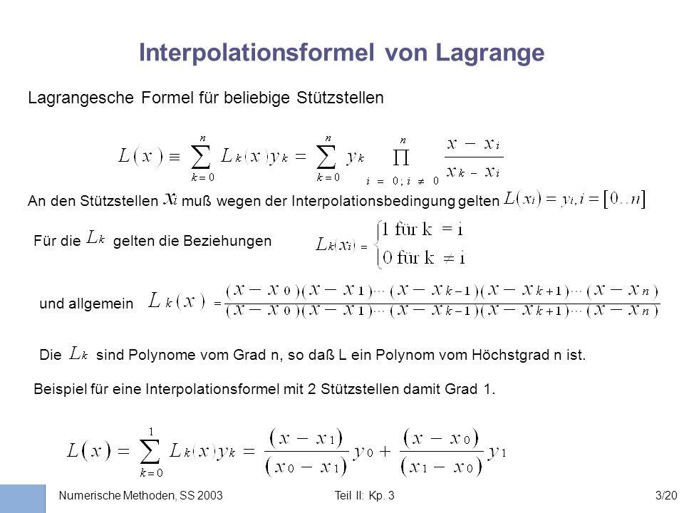 Interpolationsformel von Lagrange