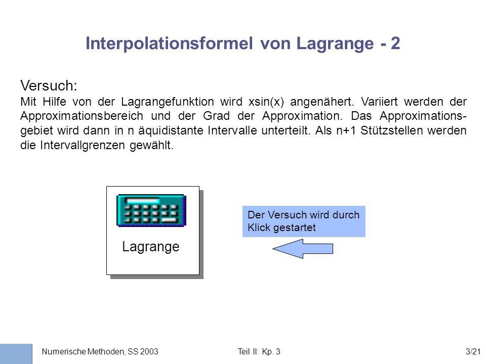 Interpolationsformel von Lagrange - 2