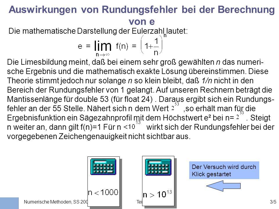 Auswirkungen von Rundungsfehler bei der Berechnung von e