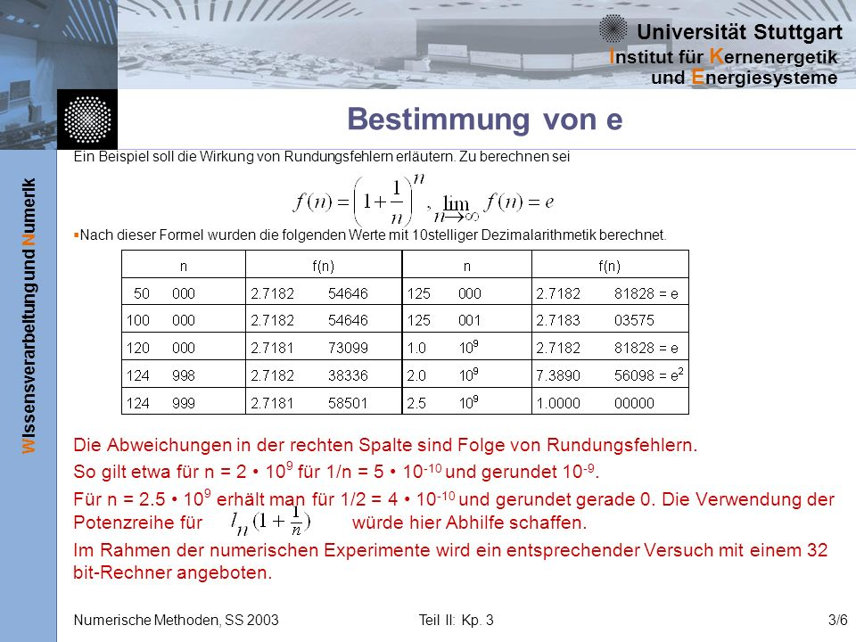 Bestimmung von e Ein Beispiel soll die Wirkung von Rundungsfehlern erläutern. Zu berechnen sei.