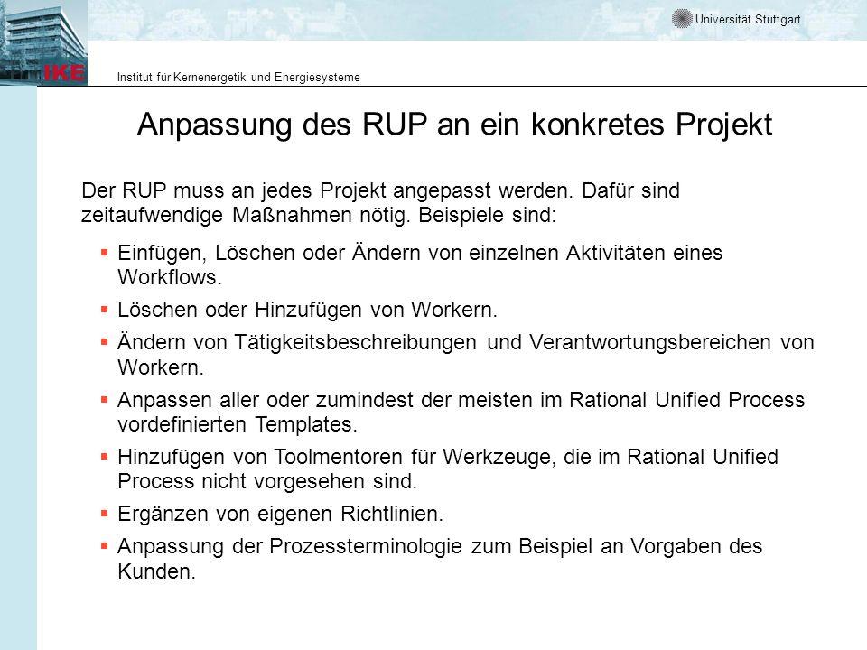 Anpassung des RUP an ein konkretes Projekt