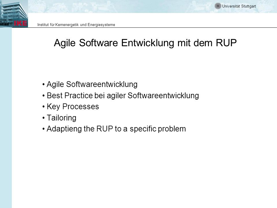 Agile Software Entwicklung mit dem RUP