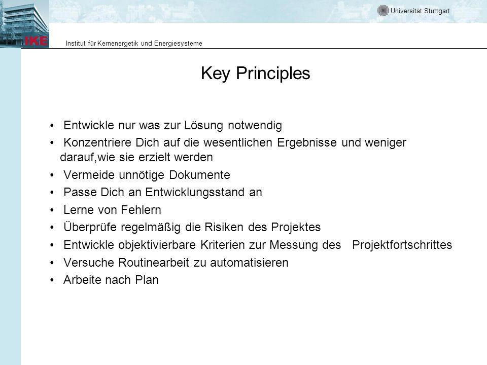Key Principles Entwickle nur was zur Lösung notwendig