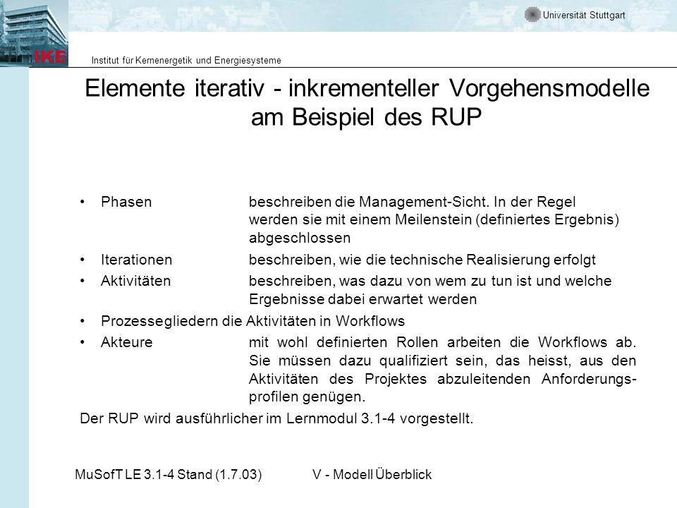 Elemente iterativ - inkrementeller Vorgehensmodelle am Beispiel des RUP