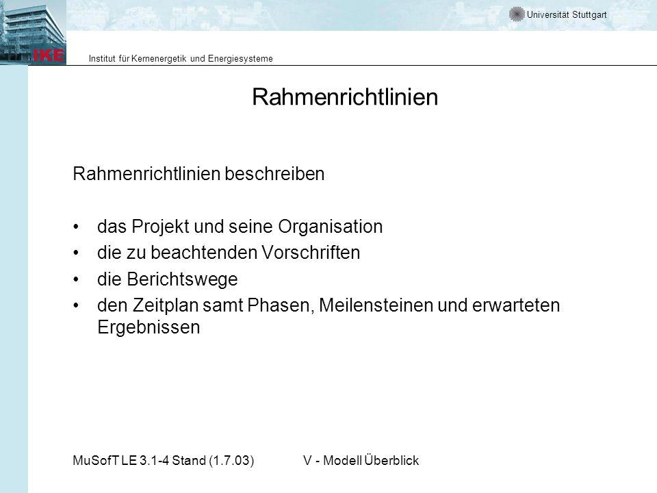 Rahmenrichtlinien Rahmenrichtlinien beschreiben