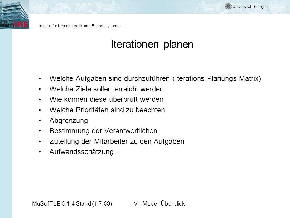 Iterationen planen Welche Aufgaben sind durchzuführen (Iterations-Planungs-Matrix) Welche Ziele sollen erreicht werden.