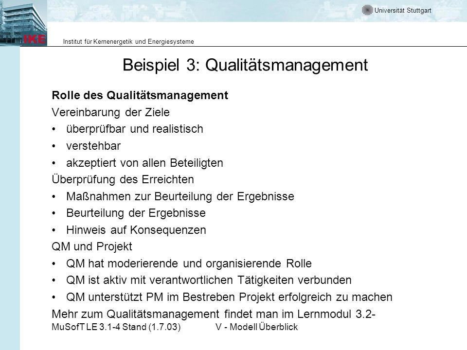 Beispiel 3: Qualitätsmanagement