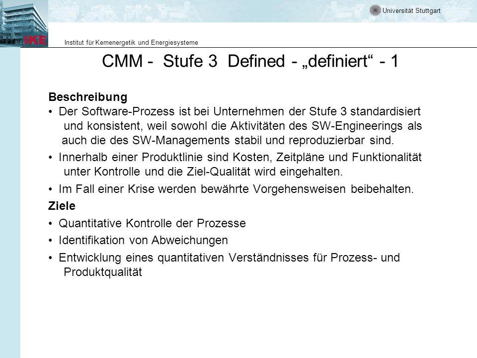 """CMM - Stufe 3 Defined - """"definiert - 1"""