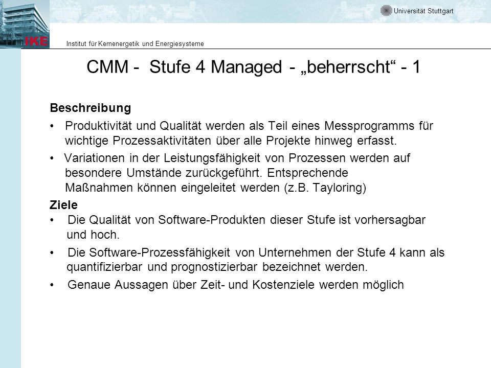 """CMM - Stufe 4 Managed - """"beherrscht - 1"""