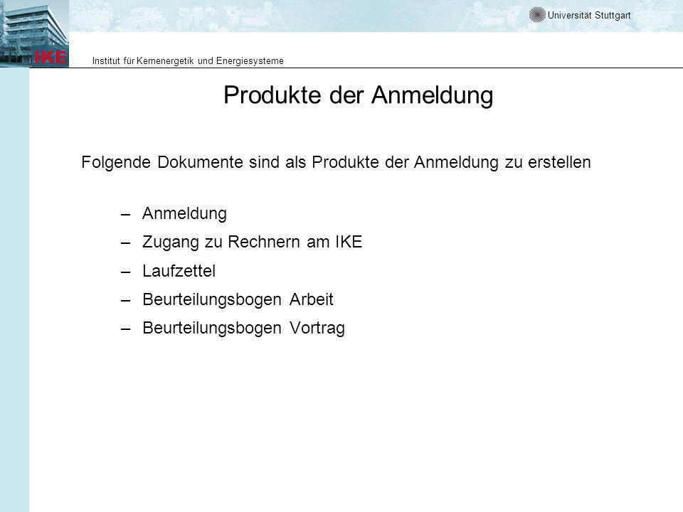 Produkte der Anmeldung