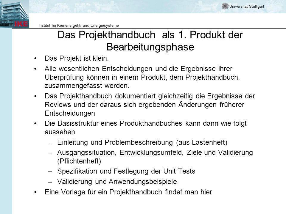 Das Projekthandbuch als 1. Produkt der Bearbeitungsphase