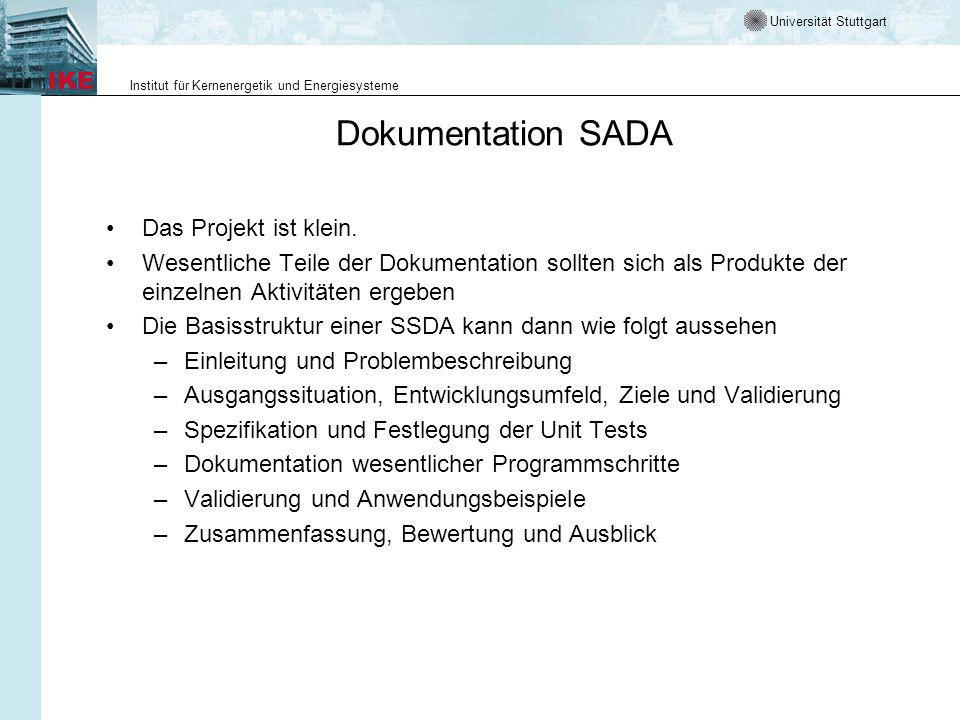 Dokumentation SADA Das Projekt ist klein.