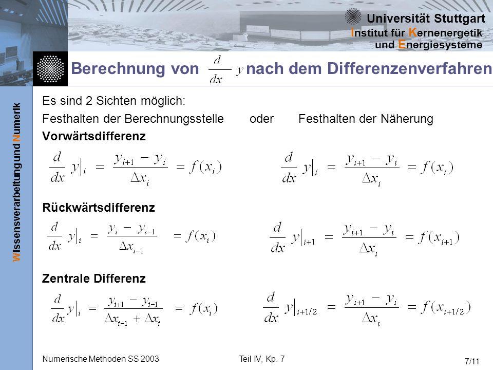 Berechnung von nach dem Differenzenverfahren
