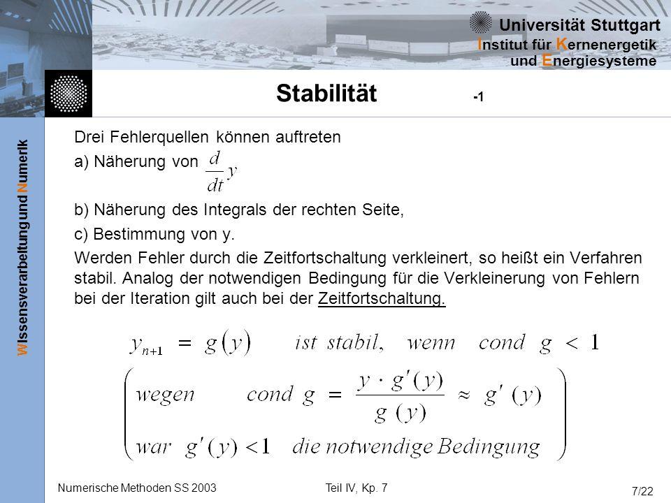 Stabilität -1 Drei Fehlerquellen können auftreten a) Näherung von