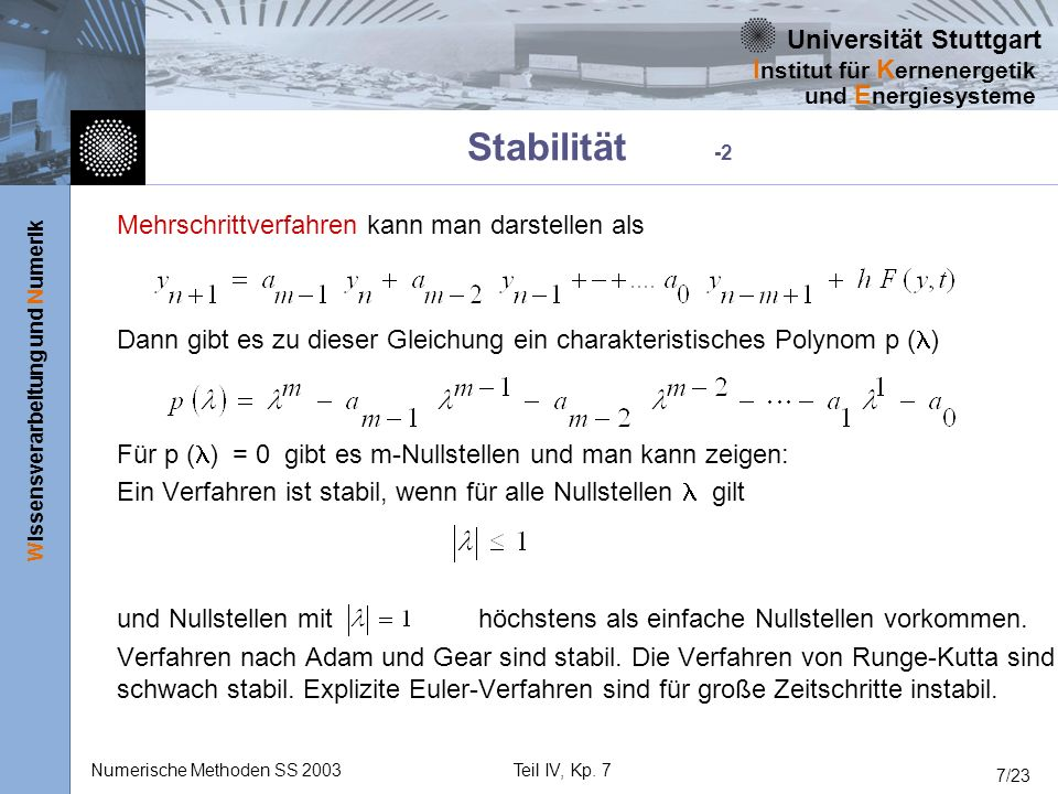 Stabilität -2 Mehrschrittverfahren kann man darstellen als