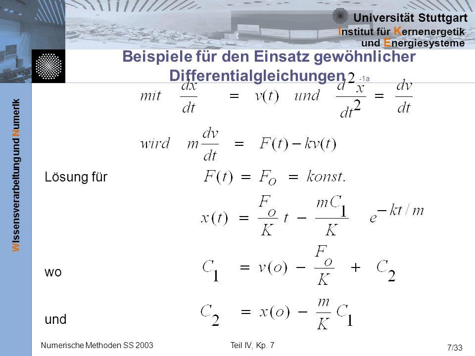 Beispiele für den Einsatz gewöhnlicher Differentialgleichungen -1a