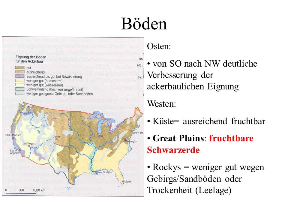 Böden Osten: von SO nach NW deutliche Verbesserung der ackerbaulichen Eignung. Westen: Küste= ausreichend fruchtbar.