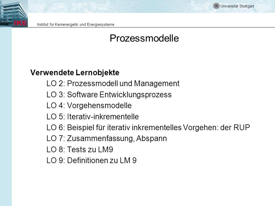 Prozessmodelle Verwendete Lernobjekte