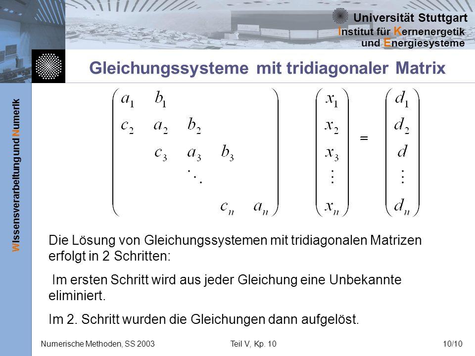 Gleichungssysteme mit tridiagonaler Matrix