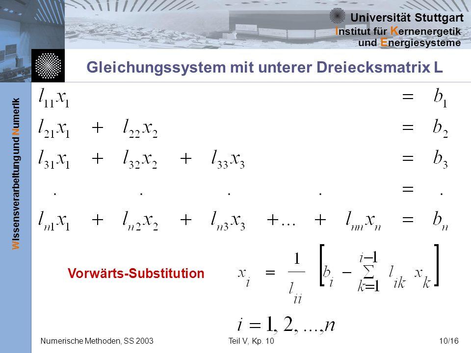 Gleichungssystem mit unterer Dreiecksmatrix L