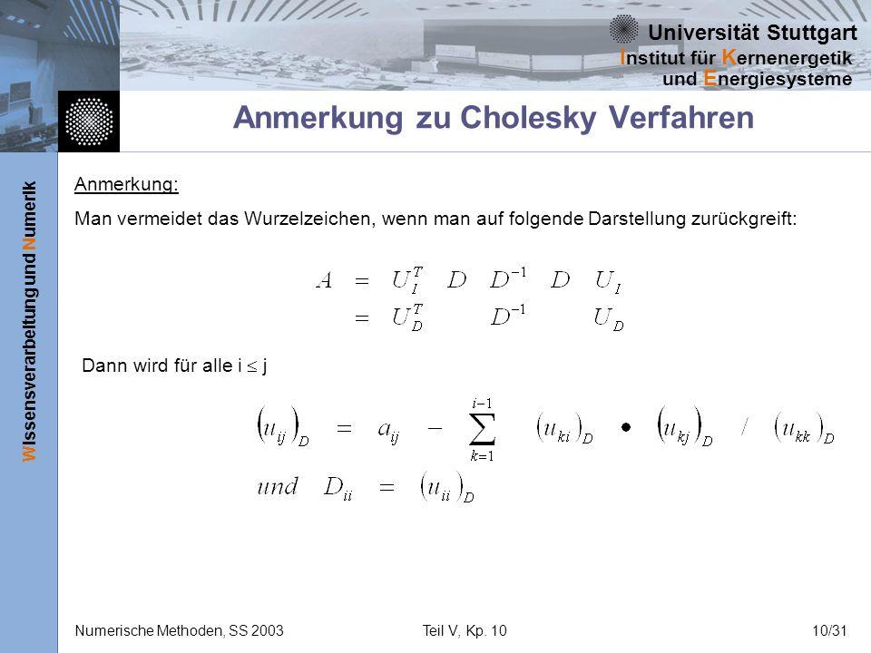 Anmerkung zu Cholesky Verfahren