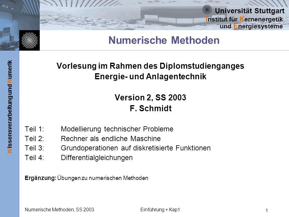 Numerische Methoden Vorlesung im Rahmen des Diplomstudienganges