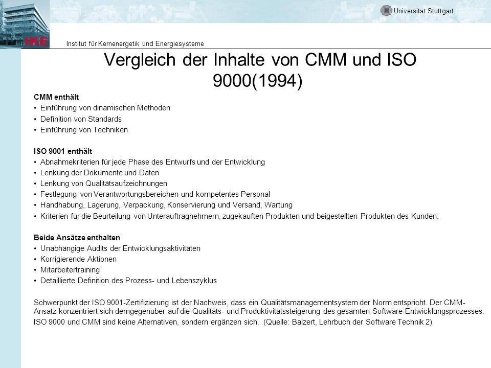 Vergleich der Inhalte von CMM und ISO 9000(1994)