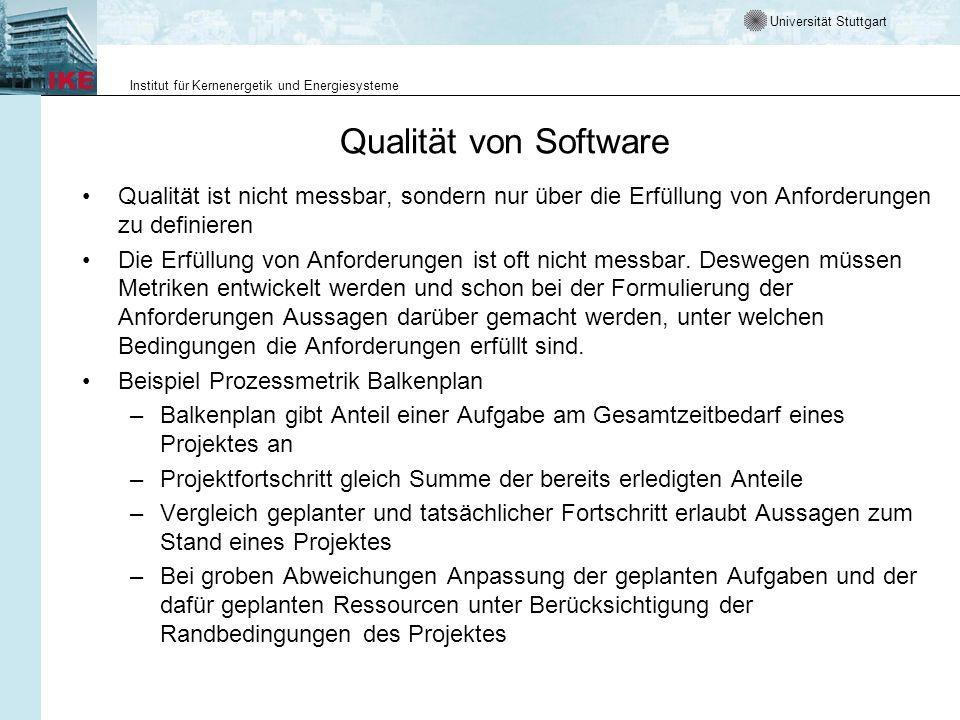Qualität von Software Qualität ist nicht messbar, sondern nur über die Erfüllung von Anforderungen zu definieren.