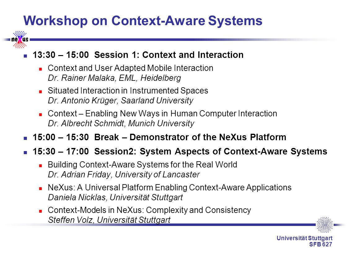 Workshop on Context-Aware Systems