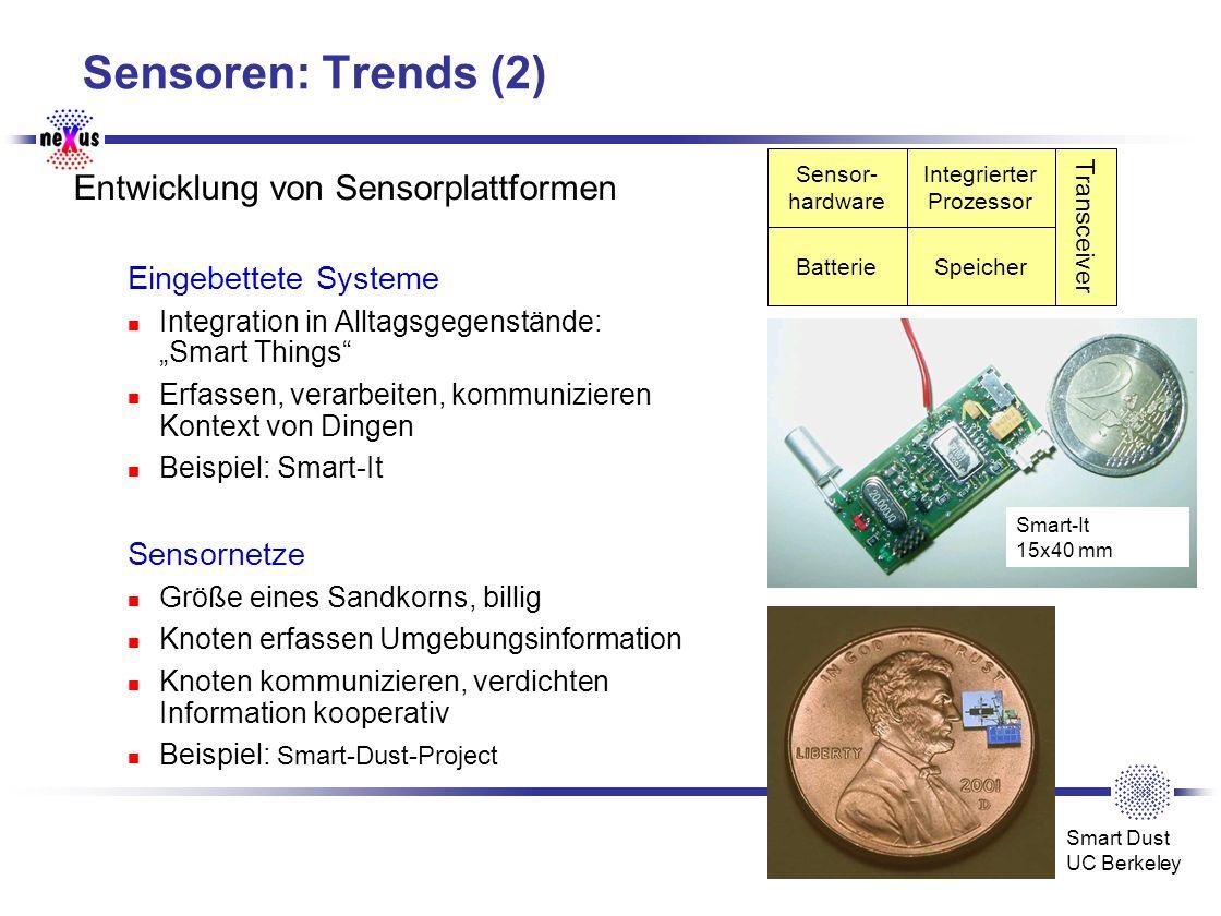 Sensoren: Trends (2) Entwicklung von Sensorplattformen