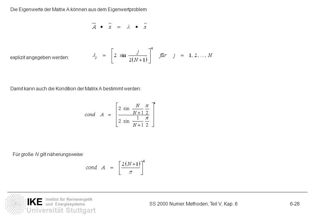 Die Eigenwerte der Matrix A können aus dem Eigenwertproblem