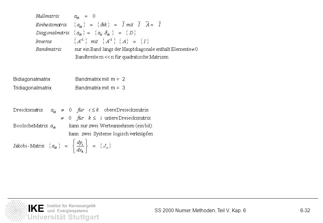 Bidiagonalmatrix Bandmatrix mit m = 2