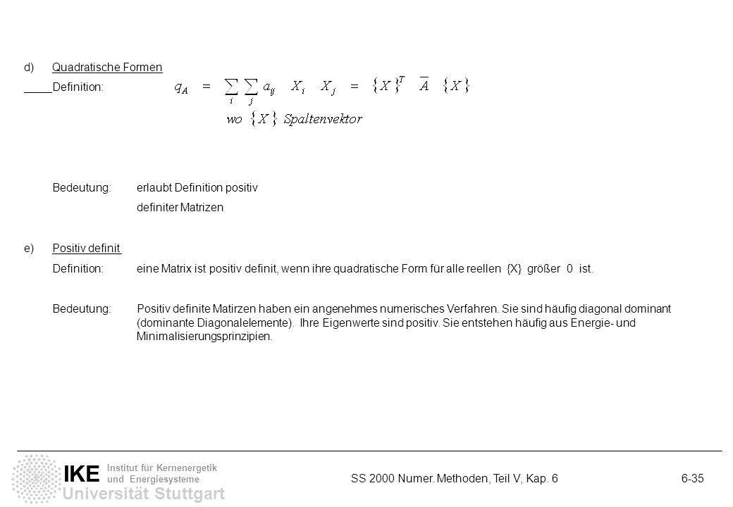 d) Quadratische Formen