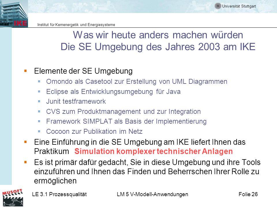 Was wir heute anders machen würden Die SE Umgebung des Jahres 2003 am IKE