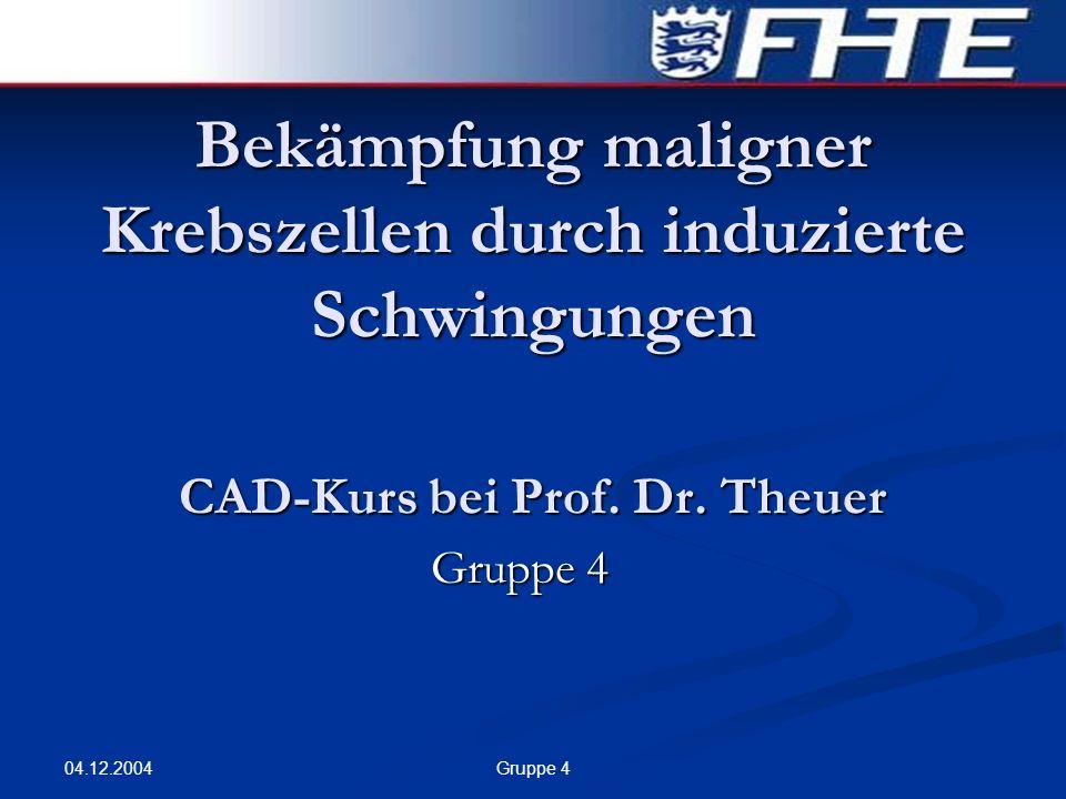 Bekämpfung maligner Krebszellen durch induzierte Schwingungen CAD-Kurs bei Prof. Dr. Theuer