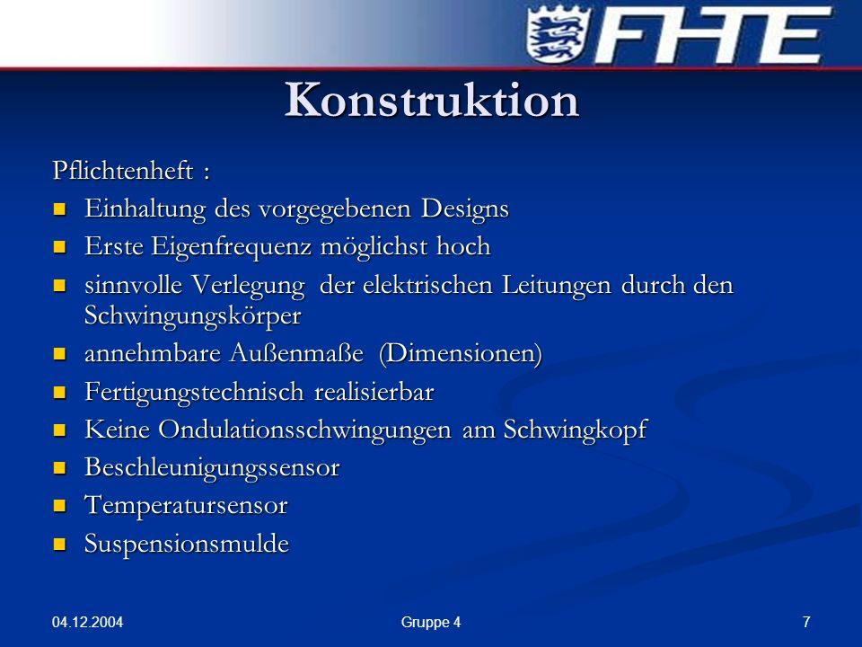 Konstruktion Pflichtenheft : Einhaltung des vorgegebenen Designs
