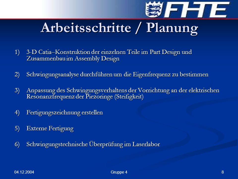 Arbeitsschritte / Planung