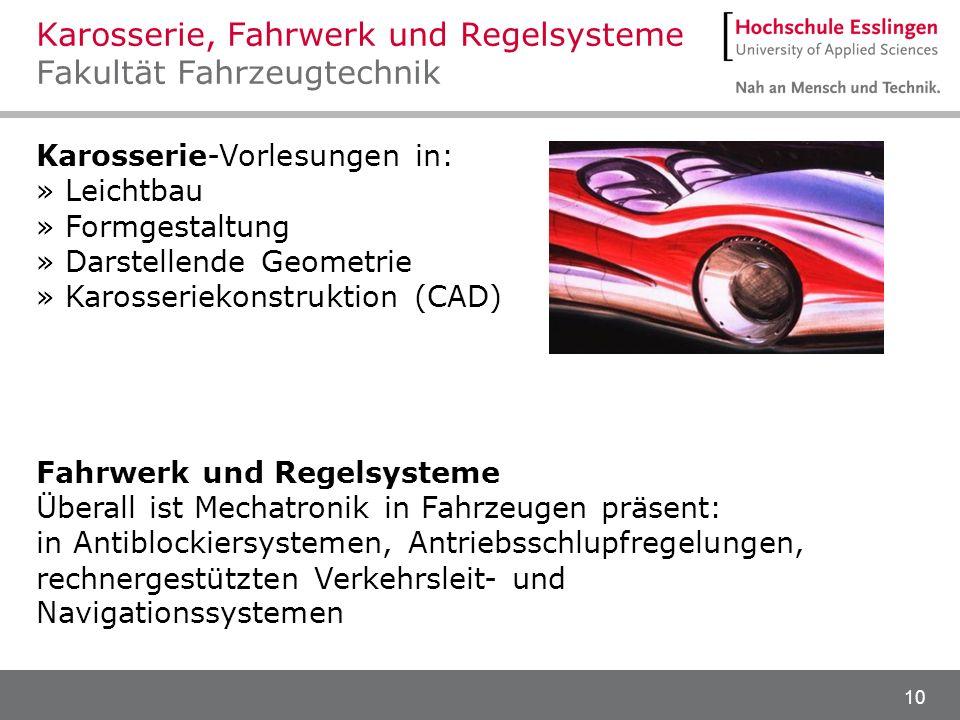 Karosserie, Fahrwerk und Regelsysteme Fakultät Fahrzeugtechnik
