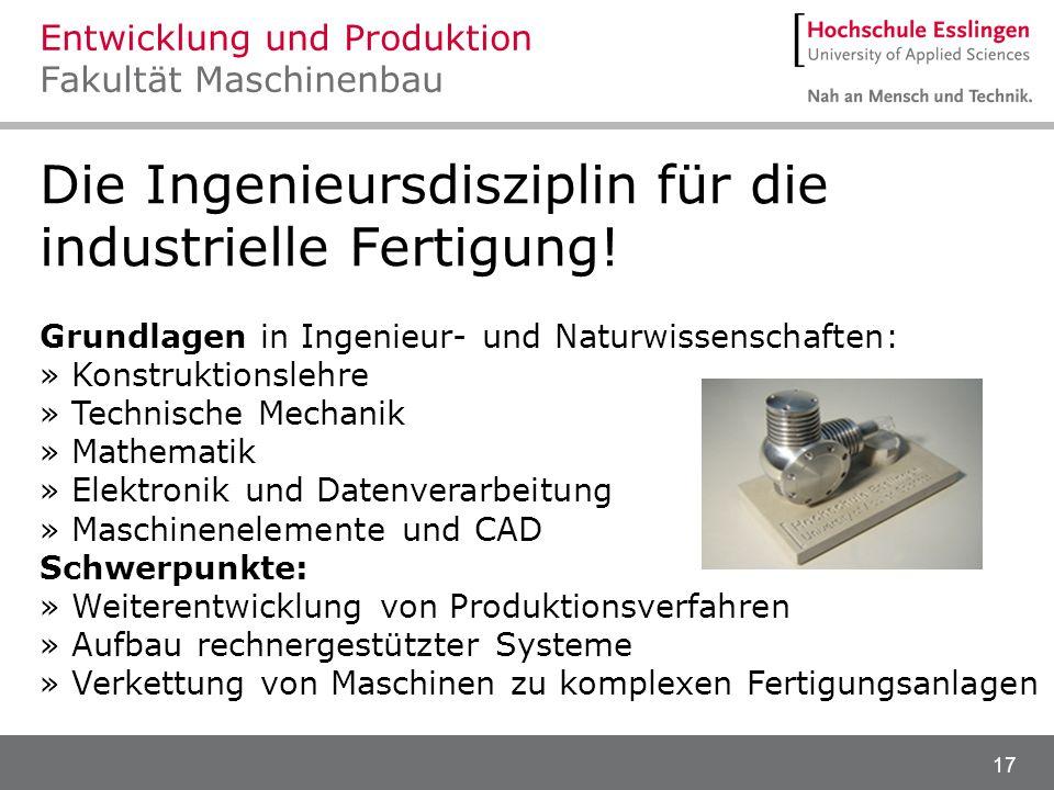 Entwicklung und Produktion Fakultät Maschinenbau