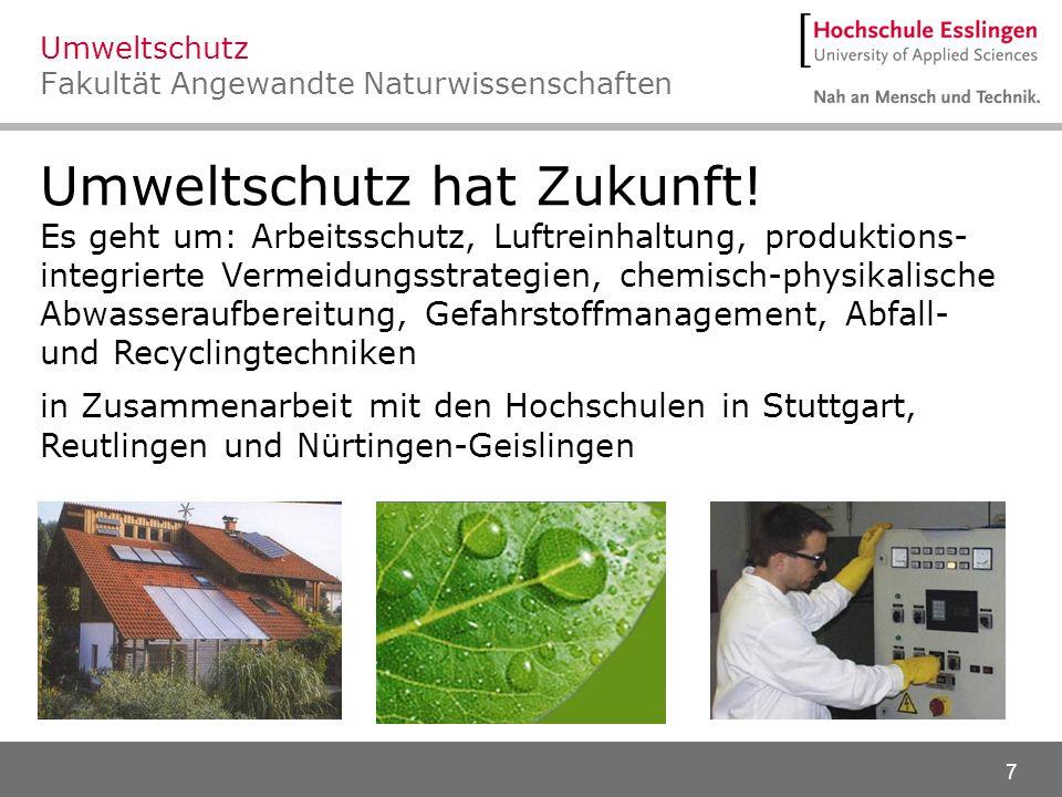 Umweltschutz Fakultät Angewandte Naturwissenschaften