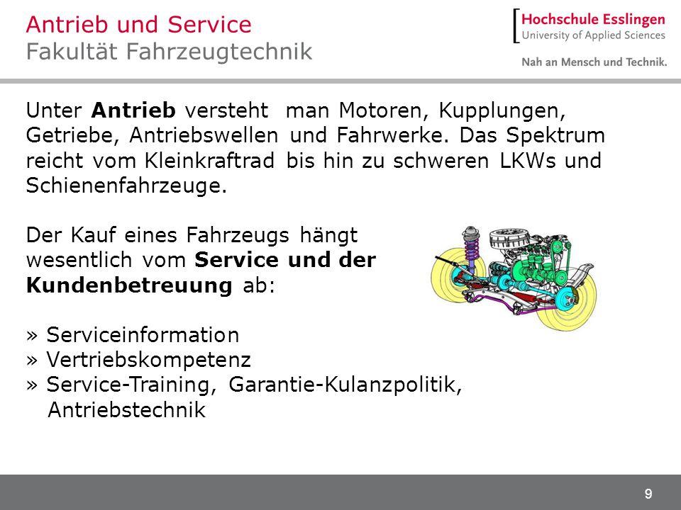 Antrieb und Service Fakultät Fahrzeugtechnik