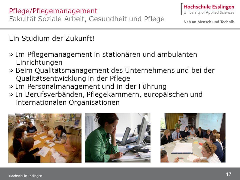 Pflege/Pflegemanagement Fakultät Soziale Arbeit, Gesundheit und Pflege