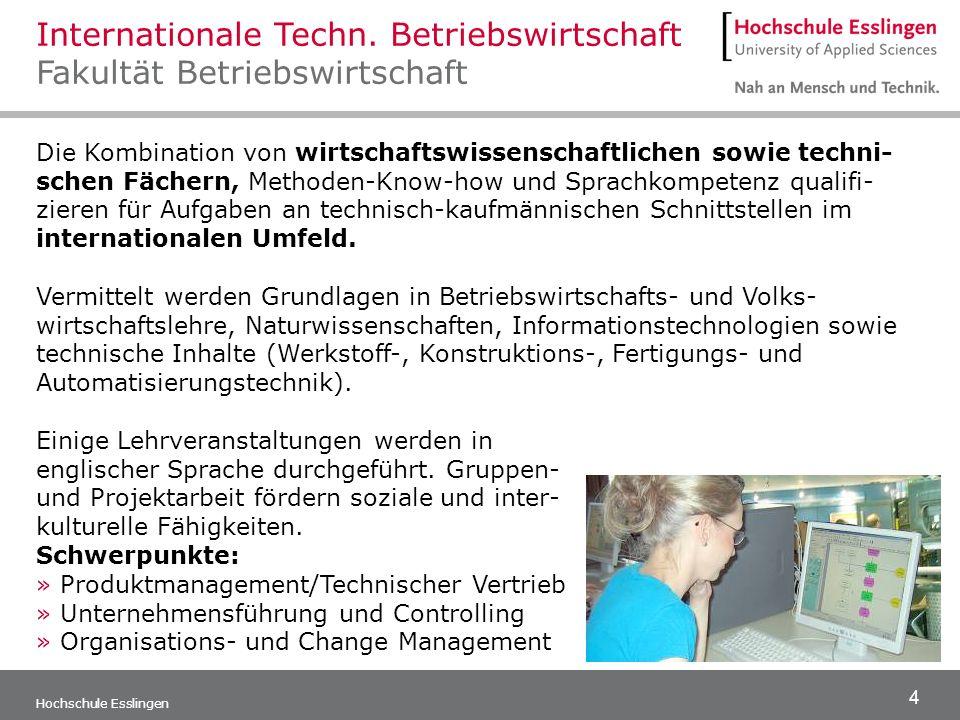 Internationale Techn. Betriebswirtschaft Fakultät Betriebswirtschaft