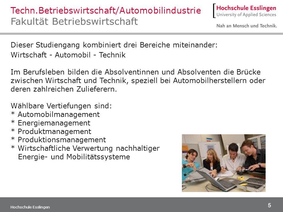Techn.Betriebswirtschaft/Automobilindustrie Fakultät Betriebswirtschaft