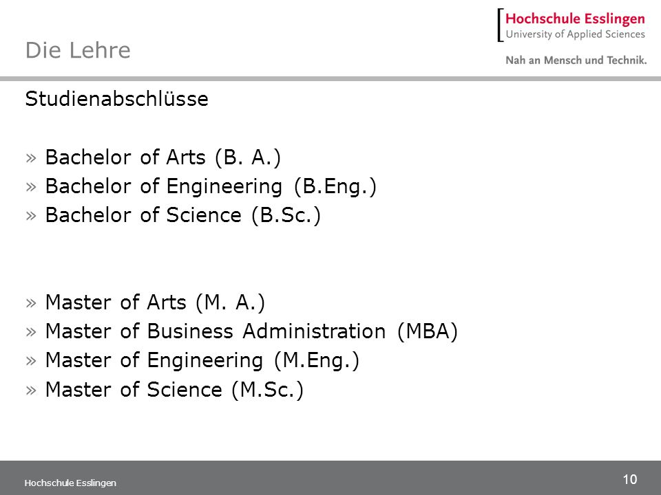 Die Lehre Studienabschlüsse Bachelor of Arts (B. A.)