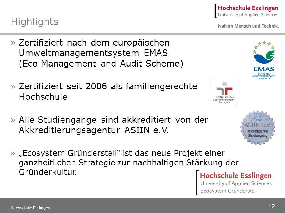 Highlights Zertifiziert nach dem europäischen Umweltmanagementsystem EMAS (Eco Management and Audit Scheme)