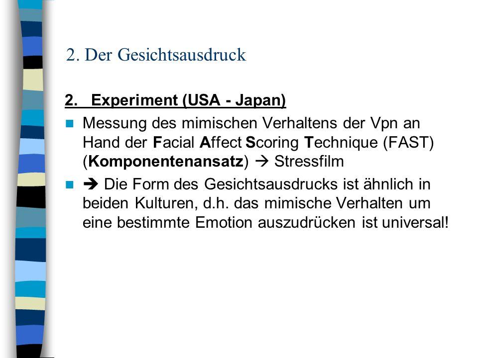 2. Der Gesichtsausdruck 2. Experiment (USA - Japan)