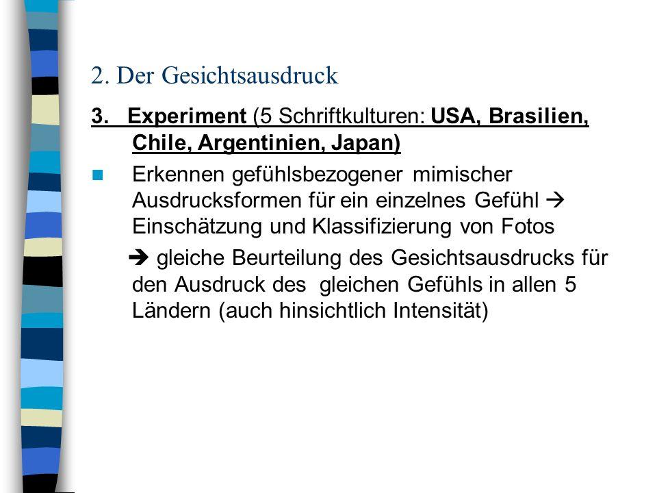 2. Der Gesichtsausdruck 3. Experiment (5 Schriftkulturen: USA, Brasilien, Chile, Argentinien, Japan)