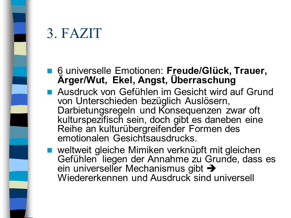 3. FAZIT 6 universelle Emotionen: Freude/Glück, Trauer, Ärger/Wut, Ekel, Angst, Überraschung.